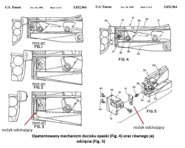 patent mechanizm opaski plastikowe nożyk odcina