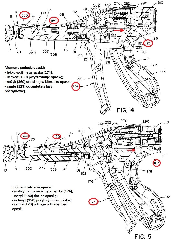 patent mechanizm opaski plastikowe nożyk odcina1